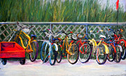 Wagon Pastels Framed Prints - Bike Racks Framed Print by Lorrie Turner