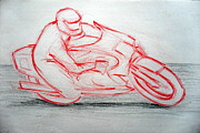 Race Pastels Originals - Bike Rider 03 by Mohd Raza-ul Karim