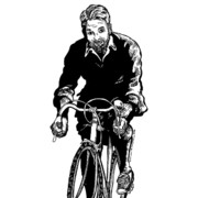 Bicycle Drawings - Bike Rider by Karl Addison