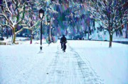 East River Drive Digital Art Posters - Bike Riding in the Snow Poster by Bill Cannon