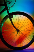 Spokes Metal Prints - Bike Silhouette Metal Print by Garry Gay