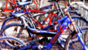 Pasttime Prints - Bike Tangle 2  - Americana Print by Steve Ohlsen