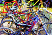 Pasttime Prints - Bike Tangle Abstract Print by Steve Ohlsen