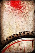 Layered Photo Framed Prints - Bike wheel Red spray Framed Print by Silvia Ganora