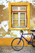 Yellow Bike Framed Prints - Bike Window Framed Print by Carlos Caetano