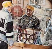 Antiques Paintings - Biker Dude by Kathy Michels