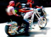 Rally Digital Art Posters - Biker Glow At Speed Poster by Terril Heilman