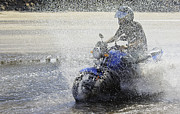 Two Wheeler Photo Prints - Biker  Making a Splash Print by Kantilal Patel