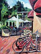 Cafe Umbrellas Posters - Bikes at the Depot Cafe Poster by Colleen Proppe