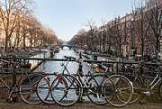 Amsterdam Digital Art - Bikes on the Canal in Amsterdam by Carol Ailles