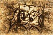 Brown Toned Art Photos - Bikes On The Canal by Skip Nall
