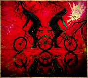 Tricks Mixed Media Prints - Bikes Print by Tisha McGee