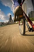 Lakefront Framed Prints - Biking Chicagos Lakefront Framed Print by Steve Gadomski