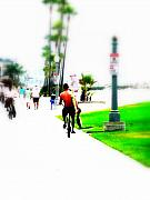 Funkpix Digital Art Posters - Biking on Newport Beach Poster by Funkpix Photo Hunter