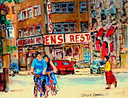 Montreal Bistros Framed Prints - Biking  Past Ben Framed Print by Carole Spandau
