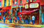 Quebec Streets Paintings - Biking Past The Deli by Carole Spandau
