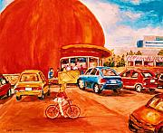 Streetscenes Paintings - Biking Past the Orange Julep by Carole Spandau
