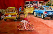 Cafescenes Paintings - Biking To The Orange Julep by Carole Spandau