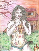 Evil Drawings Originals - Bikini Leatherface by Michael Toth