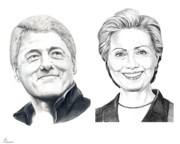 Famous People Drawings - Bill and Hillary by Murphy Elliott