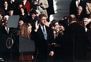 Hillary Rodham Posters - Bill Clinton Center, Taking The Oath Poster by Everett