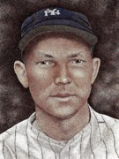 New York Yankees Drawings - Bill Dickey by Rob Payne