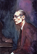 Famous People Portrait Prints - Bill Evans - Blue Symphony Print by David Lloyd Glover