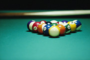 Recreational Pool Prints - Billiard Balls Arranged On Table Print by Fuse