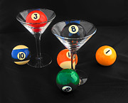 Pool Balls Posters - Billiard Martinis Poster by Joan Powell