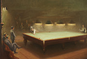 Sport Oil Paintings - Billiard Match at Thurston by English School
