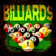 Sports Digital Art Metal Prints - Billiards Abstract Metal Print by David G Paul