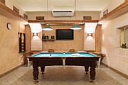 Empty Pool Framed Prints - Billiards Room Interior Framed Print by Magomed Magomedagaev