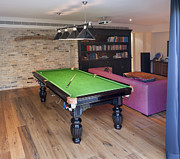 Flooring Framed Prints - Billiards Table in a Rec Room Framed Print by Noam Armonn