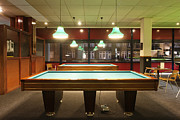 Furnishing Framed Prints - Billiards Tables At A Pool Center Framed Print by Corepics