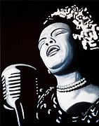 Billie Holiday Posters - Billie Belts the Blues Poster by Al  Molina