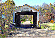 Billie Creek Village Posters - Billie Creek Village Covered Bridge Poster by Robin Pross