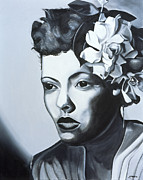 Face  Paintings - Billie Holiday by Kaaria Mucherera