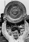 Wimbledon Prints - Billie Jean King Holding Wimbledon Print by Everett