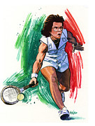 Tennis Painting Framed Prints - Billie Jean King Framed Print by Ken Meyer jr