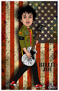 Green Day Digital Art Posters - Billie Joe Armstrong Poster by John Goldacker