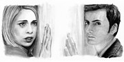 Charcoal Prints - Billie Piper and David Tennant Print by Rosalinda Markle