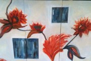 Earthtone Paintings - Billies Flowers by Debbie Weibler