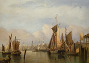 Docked Boats Framed Prints - Billingsgate Wharf Framed Print by John Wilson Carmichael