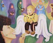 Molleur Painting Posters - Billy as Baby Jesus Poster by Suzanne  Marie Leclair
