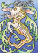 Goat Drawings Posters - Billy Dragon Poster by Amy S Turner
