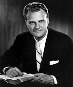 1960s Portraits Framed Prints - Billy Graham . Evangelist With Bible Framed Print by Everett