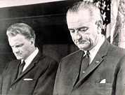 Lyndon Art - Billy Graham & President Lyndon B by Everett