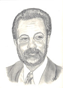 Rock Star Drawings - Billy Joel Portrait by Carol Wisniewski