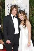 Strapless Posters - Billy Ray Cyrus, Miley Cyrus Wearing Poster by Everett