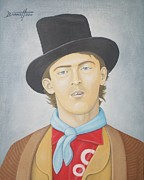 Folk Art Lincoln Paintings - Billy the Kid by Mark Barnett